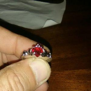 Silver gemstone red ring